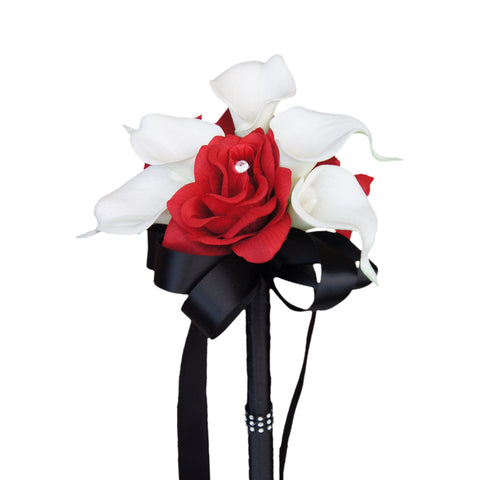"7.5"" Bouquet: Rose Calla lily Bouquet.Black,Apple Red,and White"