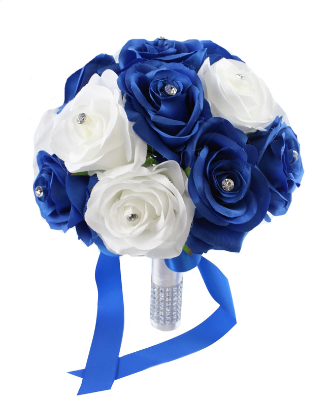 "9"" MOH Bouquet - Royal Blue and White Quality Silk Roses with Rhinestone - Angel Isabella"