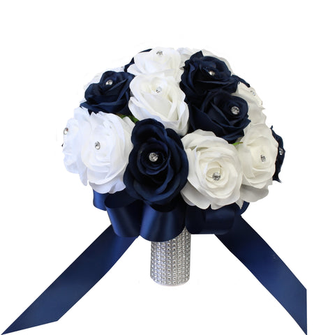 White Navy Rhinestone Bling-Bouquet corsage boutonniere wedding prom