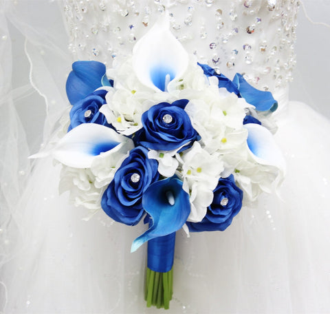 "9"" Bouquet - Keepsake Hand-tied Bouquet Hydrangea Rose Calla Lily *Pick Colors*"