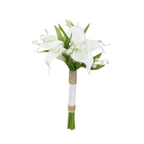 Lily Of The Valley Wedding Flowers: Colorful Artificial Flower Wedding Bouquet, Corsage Calla