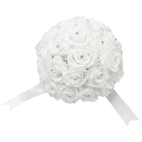 Build wedding package- rose bouquet with silver grey ribbon