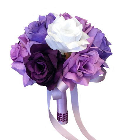 "8"" Bridesmaid Bouquet - Shades of Lavender, Purple, and White Roses"