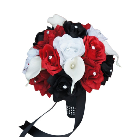 "9"" inch Rose Calla lily Bouquet.Black,Apple Red,and White"