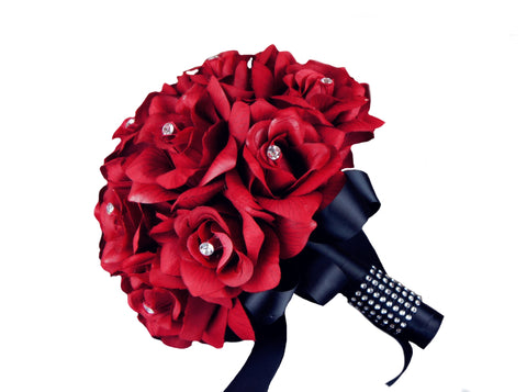 "9"" Bouquet-Apple Red rose with rhinestone (Pick the ribbon color)"