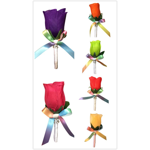 Boutonniere - Rosebud Boutonniere with Rainbow Ribbon: Pick Rosebud Color