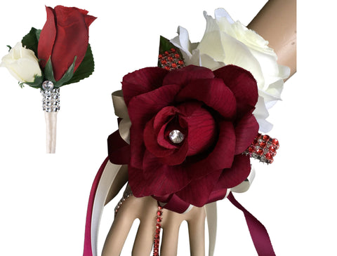 2pc set wrist  corsage and Boutonniere(BCset-40) rose in Burgundy and Ivory