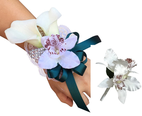 Set: Tropical Orchid and Calla Lily Wrist corsage and Boutonniere with Dark Teal Ribbon