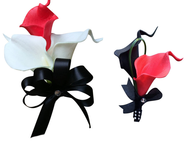 Set: Red and Black Real Touch Calla Lily Wrist Corsage & Boutonniere - Angel Isabella