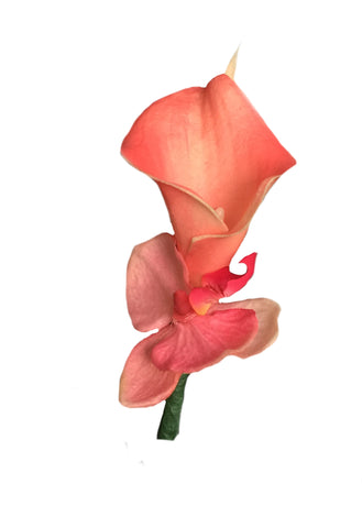 Calla lily Boutonniere - Real Touch Coral Calla Lily Silk Orchid With Shades Of Coral And Punch Pink