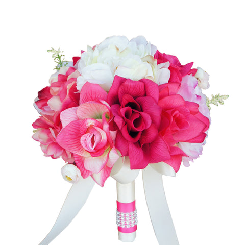 "8"" Bouquet - Rose and Peony Bouquet Shades of Pink and Ivory"