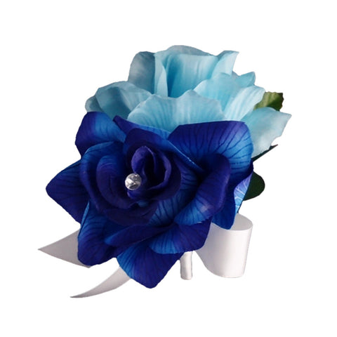 Pin Corsage - Royal blue and Baby Blue Artificial Roses