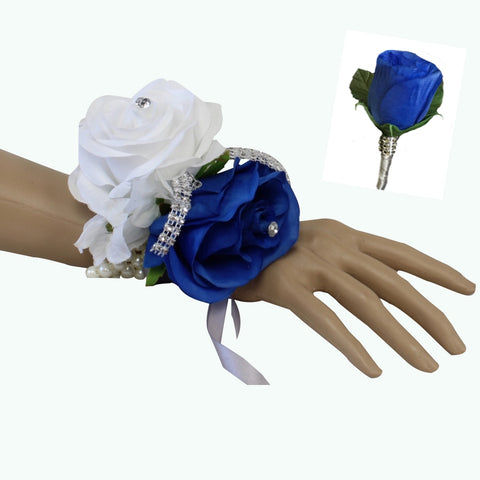 Set: Two Rose Royal Blue (Horizon Blue), White, Silver Wrist Corsage & Boutonniere
