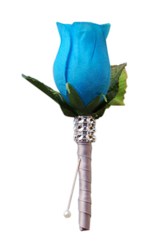 Boutonniere - Turquoise Blue Rosebud and Silver Grey Ribbon