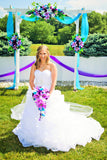 Cascade Bouquet-  Turquoise, Purple, and White artificial flowers