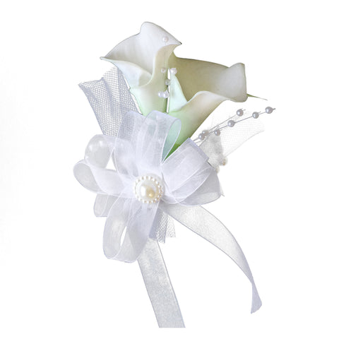 Wrist corsage:Real Touch calla lily(Latex Artificial) with pearls and tulle