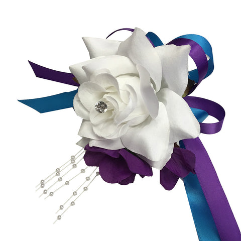 Wrist Corsage - White Rose with Purple and Turquoise Ribbon