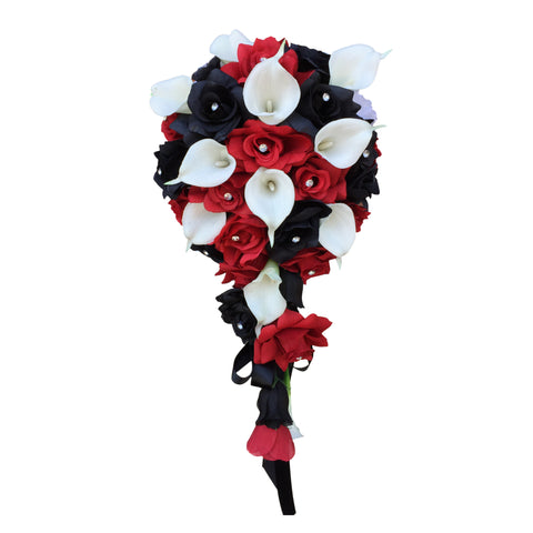 Cascade bouquet red black and white artificial roses with white real touch calla lily