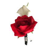 Calla lily Boutonniere: Real  Touch Calla lily with Red rose-silk flower-pin included