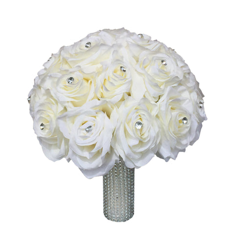 "10"" Bridal Bouquet-Nice rose with rhinestone and full bling handle"