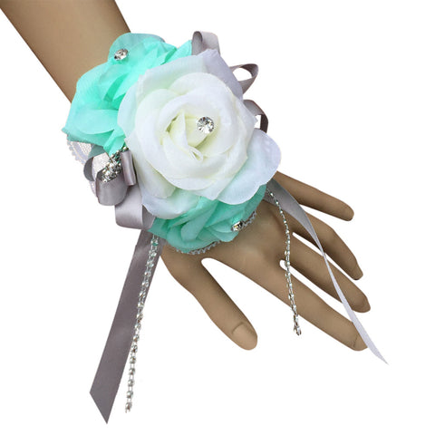Wrist corsage-Aqua Ivory artificial roses,rhinestone accents.