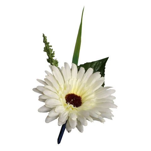Boutonniere - Ivory Daisy Boutonniere with Ribbon Wrapped Stem *Pick Ribbon Color*