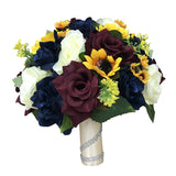 Fall Wedding - Marine Navy, Wine Burgundy, Ivory, and Sunflowers Artificial Flowers -Build Your Package