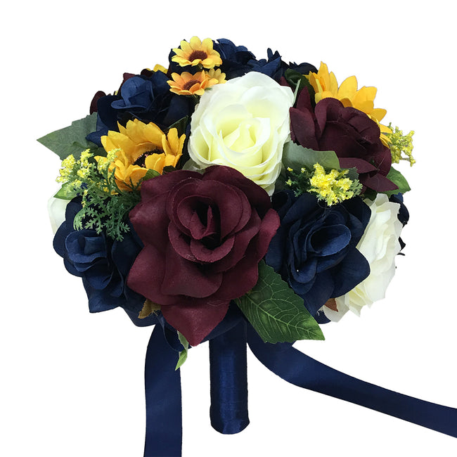 Fall Wedding - Marine Navy, Wine Burgundy, Ivory, and Sunflowers Artificial Flowers -Build Your Package - Angel Isabella