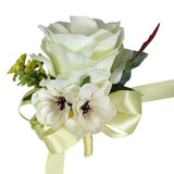 "9"" Bouquet - Ivory and Apple Red Roses with Rhinestones"