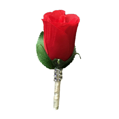 Boutonniere - Red with ivory ribbon and bling