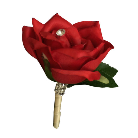 Boutonniere: Apple Red Rose with Ivory Ribbon Wrapped Stem