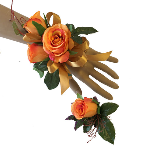 2pc Set - Corsage and Boutonniere: Shades of Orange Roses with Gold Ribbon