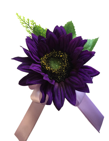 Pin Corsage - Deep Purple Sun Flower with Lavender Ribbon Bow