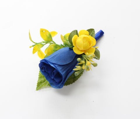 Boutonniere-Royal Blue garden mini rose and wild flowers