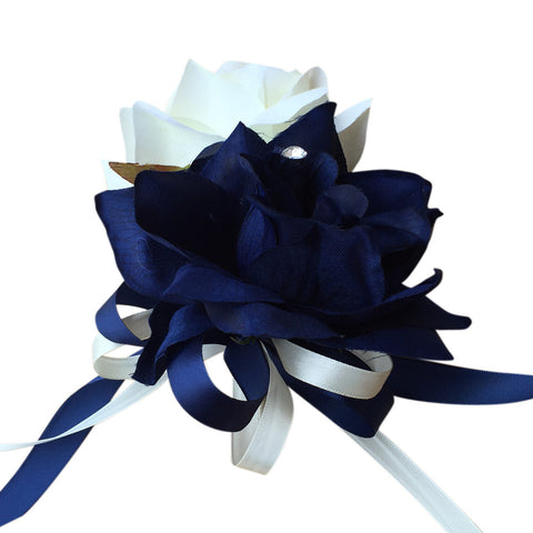 Pin Corsage-Navy Blue Ivory open roses with ribbon bows-Pin included