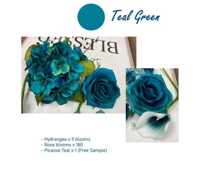 Wholesale- Teal green theme flowers - Angel Isabella