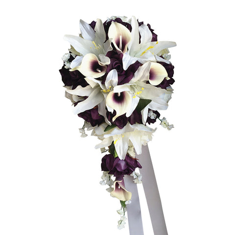 Plum Purple and Ivory Cascade Bouquet - Quality Artificial Flowers