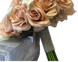 Cascade Bouquet-Blush Nude Rose and Natural White calla lily with Silver accents