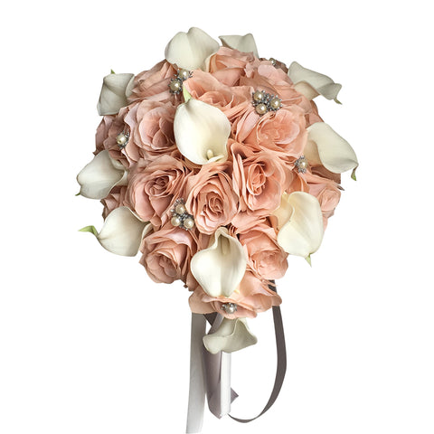 Blush Pink, White, and Silver Teardrop Bouquet - Rose and Calla Lily Artificial Flowers