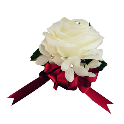 Soft and quality Ivory rose corsage --Pick Ribbon color from the list