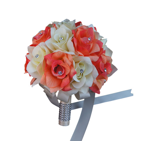 "9"" Bouquet-shades of coral,Peach,Ivory roses with rhinestone accents"