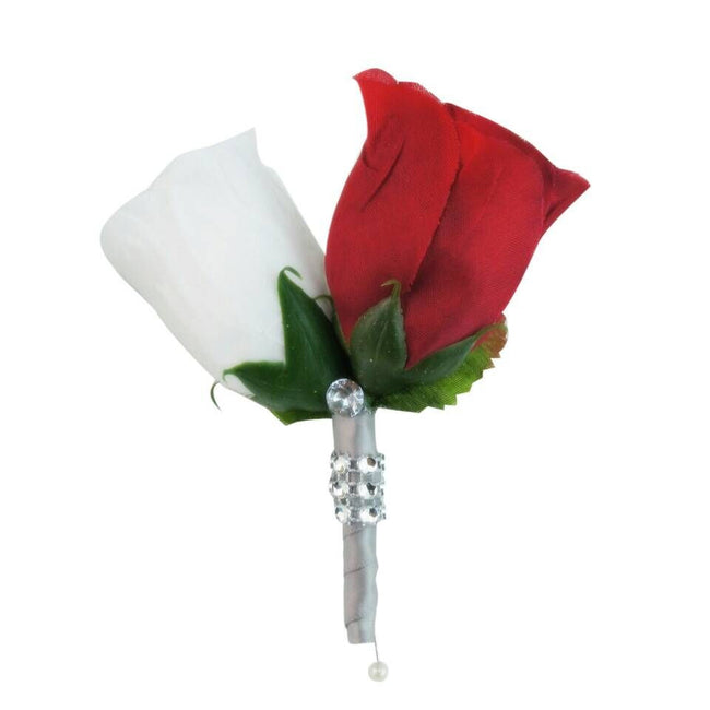 Boutonniere - Red and White Rosebud Boutonniere - Angel Isabella