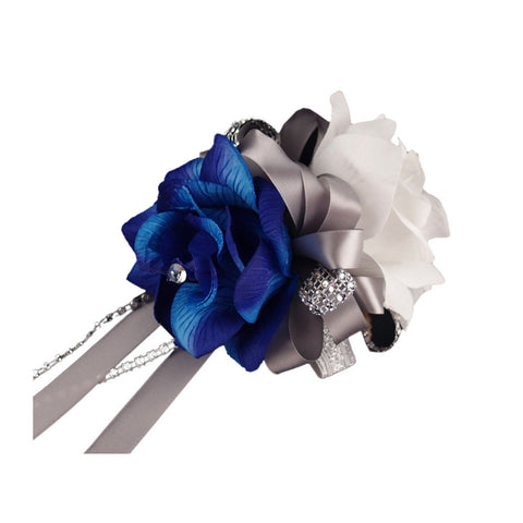 Wrist Corsage - Two Rose Corsage, One Royal Blue One White