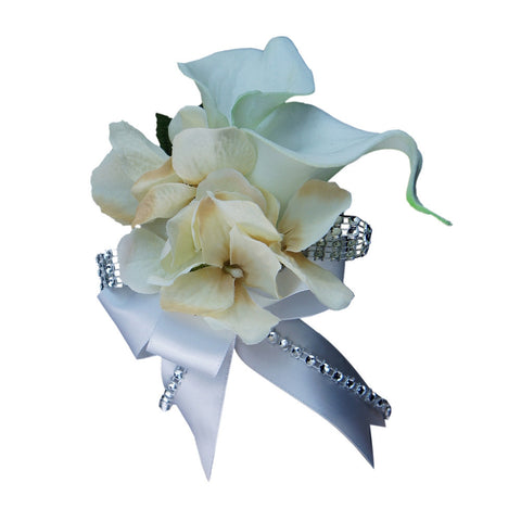 Wrist Corsage-Real touch calla lily and Silk hydrangea--Pick hydrangea Color