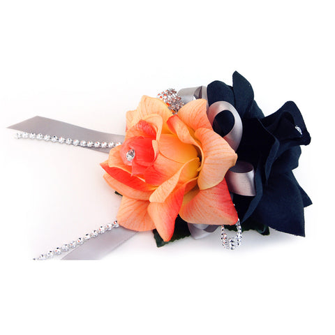 Wrist Corsage - Black and Shades of coral orange-with rhinestone decoration
