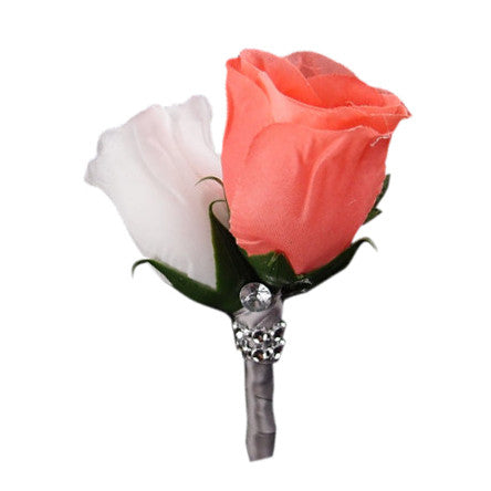 Coral White rose boutonniere with Gray ribbon and bling