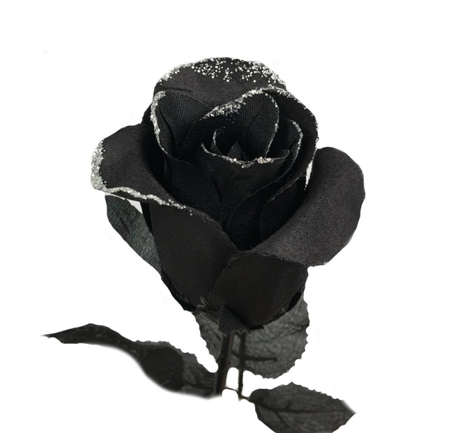 Pack of 12-Long stem Artificial Black roses with glitter trims - Angel Isabella
