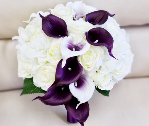 Elegant Keepsake Artificial Wedding Bouquet -Shades of Ivory, Cream, and Purple Silk Roses, Hydrangea, and Real Touch Calla Lily