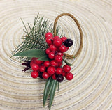 Nature-inspired Berry Pine cone napkin ring/Holders Christmas Table Decoration and Winter Holiday Party - Set of 4, 6, 8, 10, 12,16