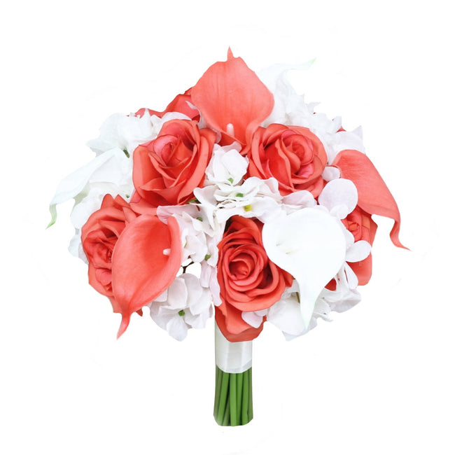 "9"" Bouquet - Keepsake Hand-tied Bouquet Hydrangea Rose Calla Lily *Pick Colors* - Angel Isabella"